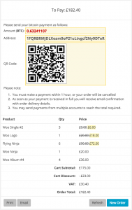 Transaction receipt using the Bitcoin gateway.